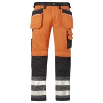 Snickers High-Vis Holster Pocket Trousers, Class 2